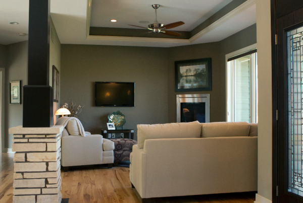 Living Room Home Builder Iowa City, North Liberty and Solon