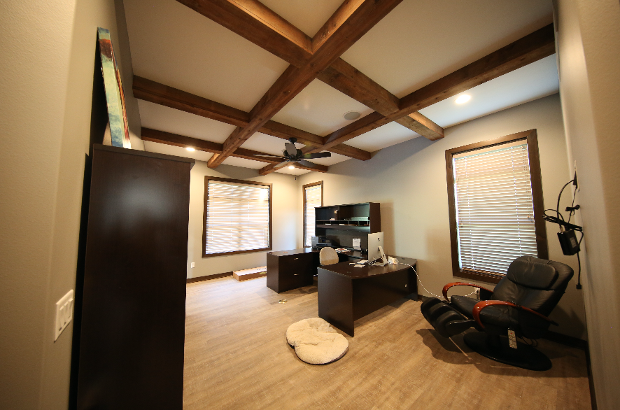 Office with Wood Beam Ceiling | Stebral Construction | Iowa City ...