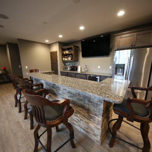 Basement Bar Stebral Construction Home Builder Iowa City, Coralville, Solon, North Liberty