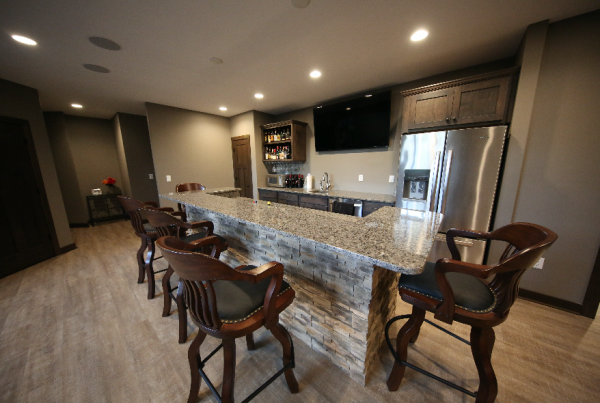 Basement Bar Stebral Construction Home Builder Iowa City, Coralville, Solon, North Liberty