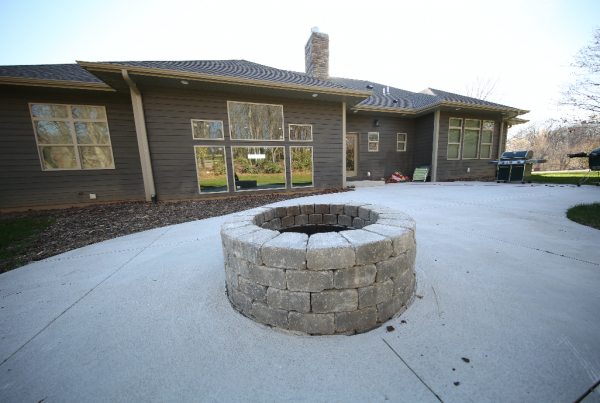 Firepit and Patio design Exterior by Stebral Construction Home Builder Iowa City, Coralville, Solon, North Liberty