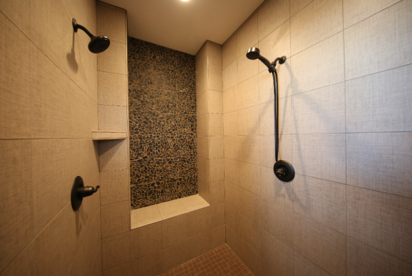 Tile Shower with Accent wall Stebral Construction Home Builder Iowa City, Coralville, Solon, North Liberty