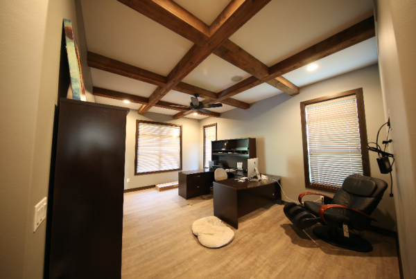 office with wood beams Stebral Construction Home Builder Iowa City, Coralville, Solon, North Liberty