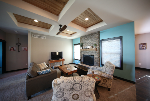 Wood Coffered Ceiling Living Room Stebral Construction Home Builder Iowa City, Coralville, Solon, North Liberty